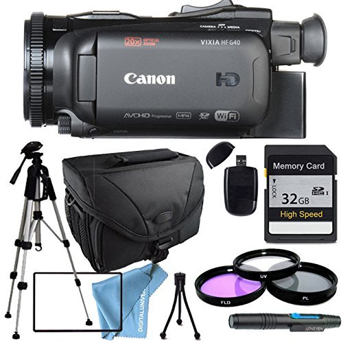 Canon VIXIA HF G40 HFG40 with Tripod, Filter kit including UV FIlter, 32GB SD Class 10 Memory Card, Camera Case, USB Card Reader & More by DIGITALUNIVERSE