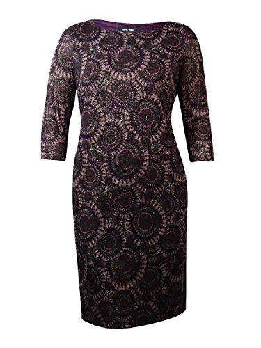 Nine West Women's Patterned 3/4 Sleeve Shift Dress (M, Boysenberry Combo)