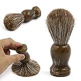 uxcell Horse Hair Shaving Brush Knot Soft Handmade For Men Pro Facial Exfoliating Beard Wet Shaving Cream Soap Barber-like Experience Travel Kit