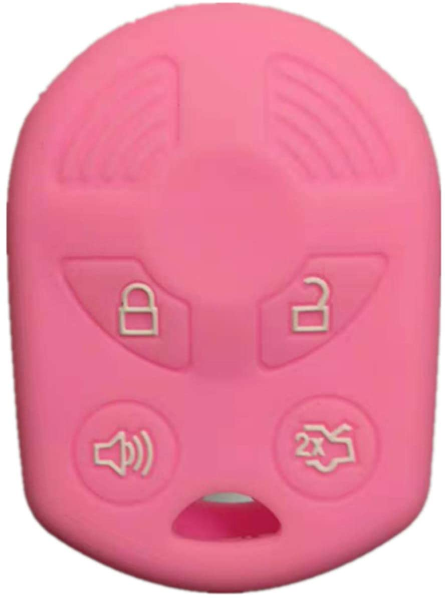 RUNZUIE Silicone Keyless Entry Remote Key Fob Cover Case Protector Fit for Ford Escape Explorer Mustang Transit Fusion Focus Lincoln Zephyr Mercury Grand Marquis Pink 4 Buttons