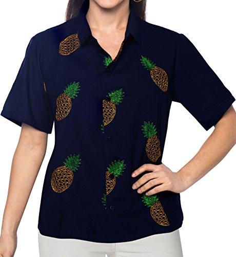La Leela rayón suave mano ligera bordada mujeres ropa playa Loungwear hawaiano señoras ocasionales botón casual señoras la manga hacia abajo cortos camisa más tamaño la blusa túnica azul arriba Azul