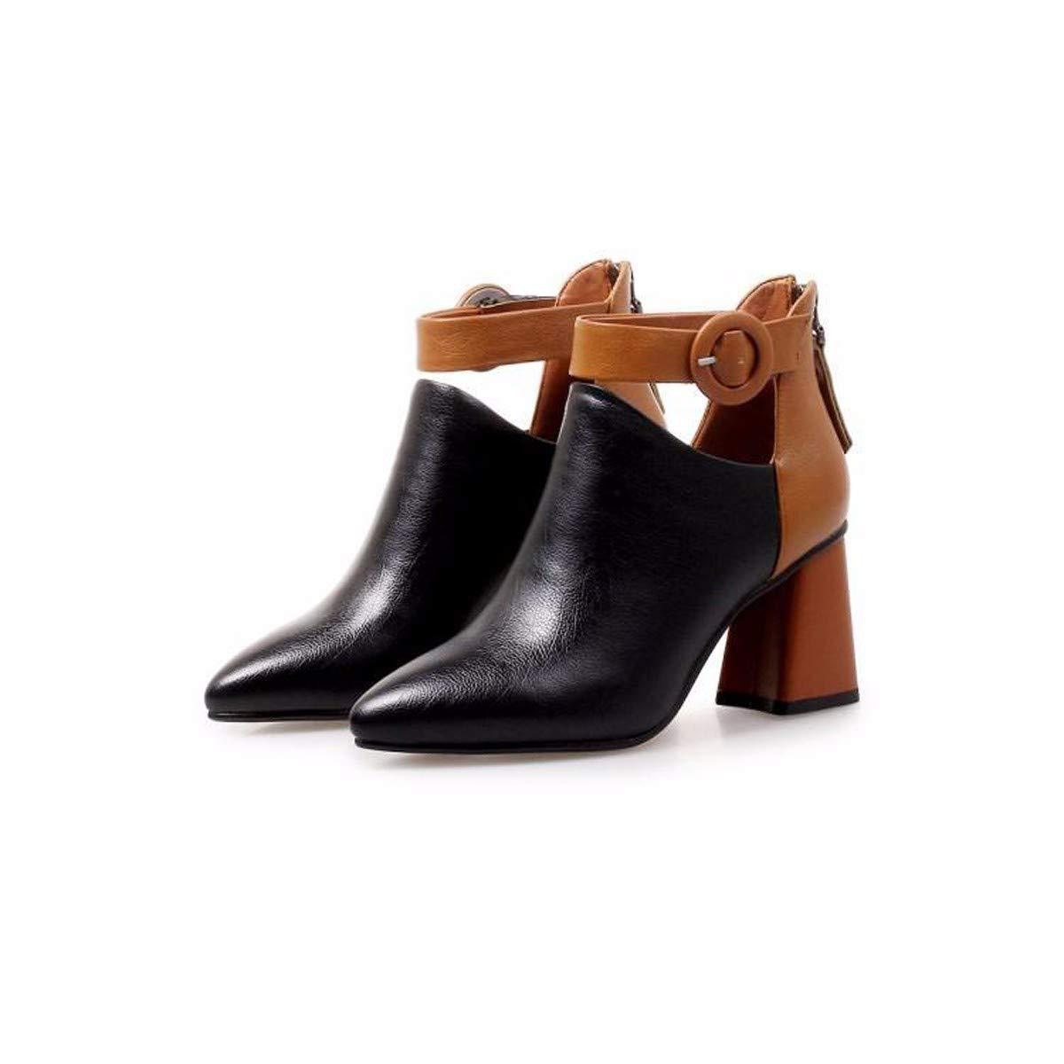 LBTSQ-Mode/Damenschuhe/Farbe Die Mit Hohen 7Cm Sharp Modisch Wild Mittlere Ferse Kurze Stiefel.