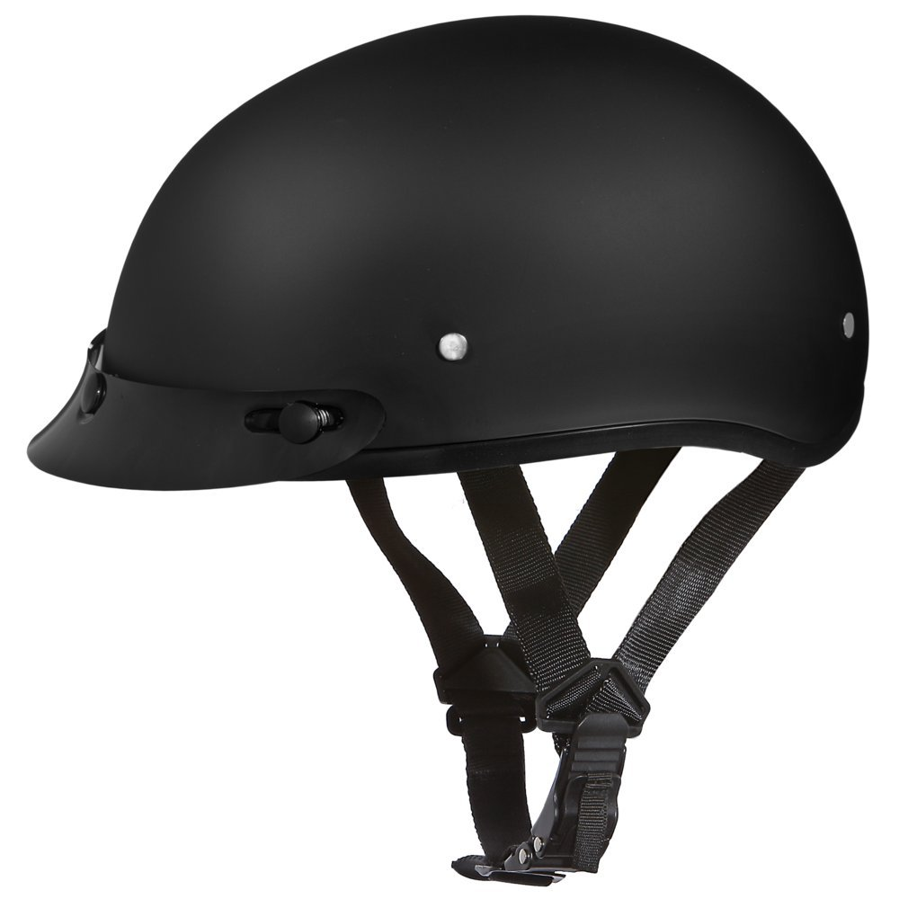 Daytona Basic/Custom D.O.T. Approved 1/2 Shell Harley Touring Motorcycle Helmet - Dull Black / Large