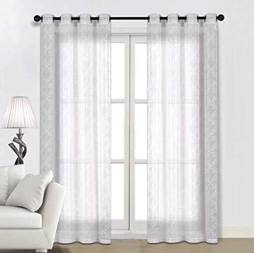 sheer lace curtain panels - 8