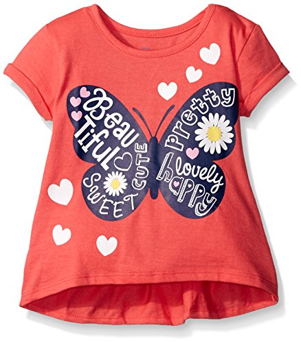 Gerber Graduates Little Girls' Toddler Short Sleeve Swing Top with Back Ruffle, Butterfly, 3T