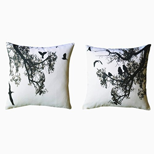 Howarmer Canvas Square Decorative Throw Pillows Black and White Decorative Pillows Birds and Trees...