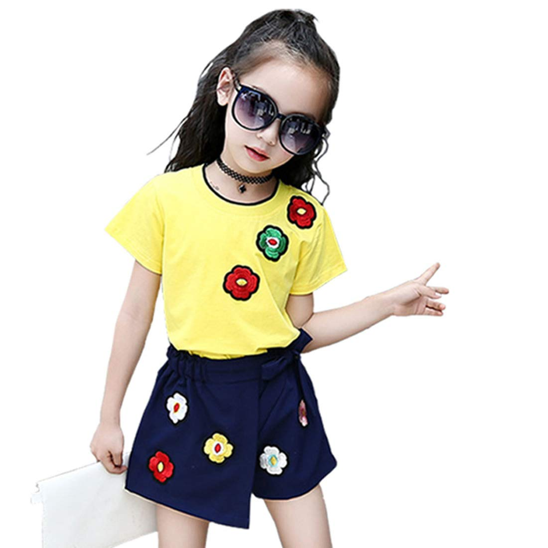 MV Childrens Summer Girls Short Sleeve Embroidered Flower Shorts Two-Piece Suit