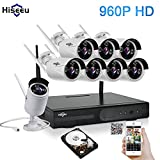 Hiseeu Wireless CCTV System 960P 8ch Powerful Wireless 1080P NVR 1TB HDD Pre-install, 8PCS 1.3Megapixel Wireless Weatherproof Bullet IP Cameras,Plug and Play,P2P,App,Home Security System