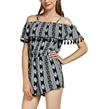 Urban CoCo Women's Beach Playsuit Retro Floral Printed Jumpsuit Rompers (S, 1 Black)