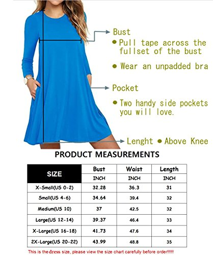 Sleeve royal Swing with T Pockets Dresses Casual HAOMEILI Women's Blue Long Shirt qfvORTqz7