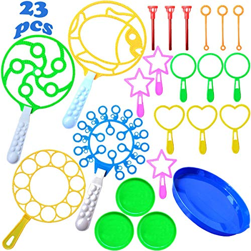 23 PCS Colorful Bubble Wands Toys Set, Jumbo Bubble Making Wand, Multihole Bubble Toys with Dipping Dish, Summer Outdoor Fun Bubble Toys