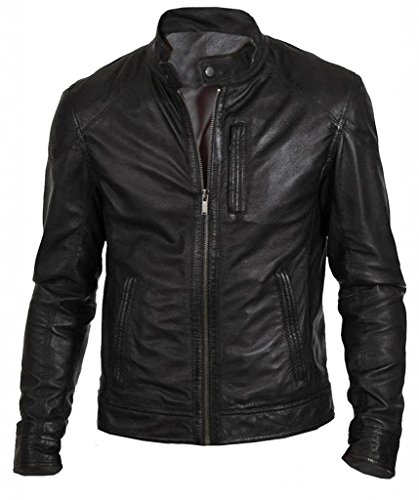 The Leather Factory Men's Black PU Faux Leather Jacket In Material L Black