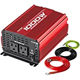 POTEK 1000W Power Inverter DC 12V to AC 110V Car Inverter Dual AC Outlets with 2A USB Output