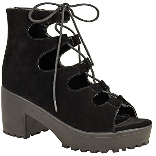 Fashion Thirsty Womens Chunky Mid Heel Platform Lace Up Cut Out Caged Sandals Boots Size 5 (Roman Outfits For Womens)