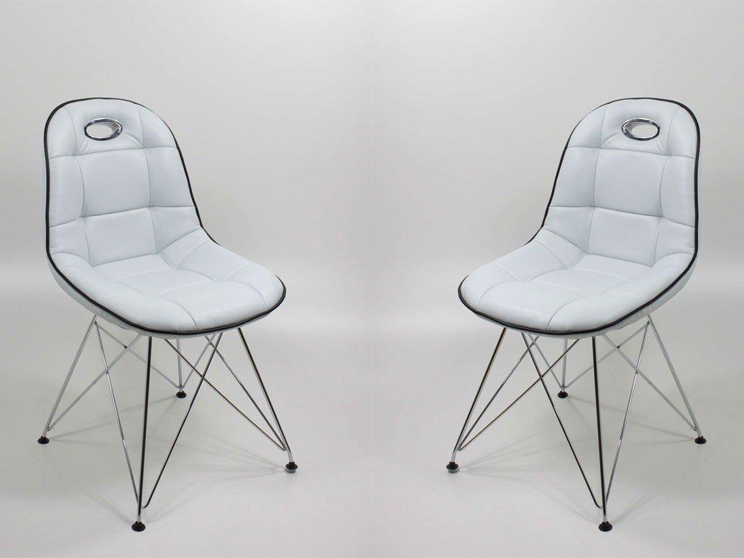 Stuhlgruppe Anabel Trapezgittergestell verchromt Kunstleder cremeweiß Designerstuhl Schalenstuhl Stuhl, Set-Inhalt:8er-Set - 8 Stück