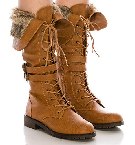 CALICO KIKI Military Knee High Combat Boots – Faux Fur with Lace up - Buckled Side Zip Up Winter Boots(7.5 US Tan PU) ()