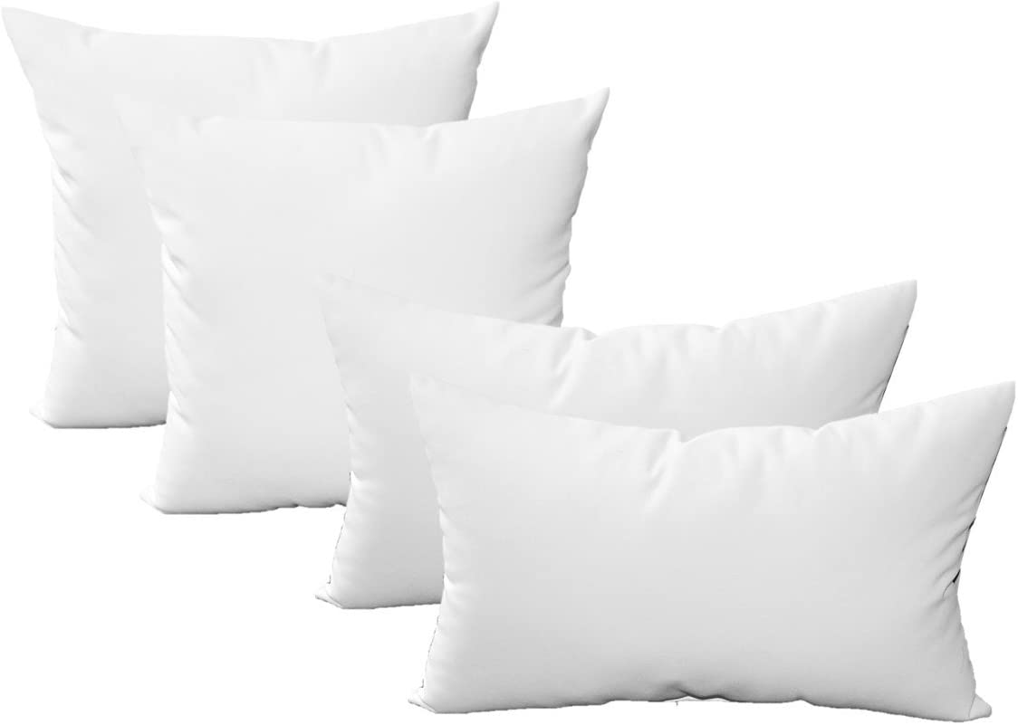 Resort Spa Home Sunbrella Canvas White – Set of 4 Indoor Outdoor Pillows – 17 Square Throw Pillows 11 x 19 Rectangle Lumbar Decorative Throw Pillows