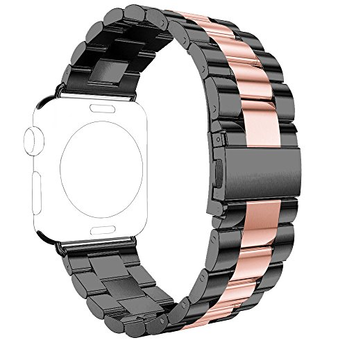 Band for Apple iWatch 38MM Black/Rose Gold, Rosa Schleife® Apple Watch Band 38 Stainless Steel Metal Replacement Smart Watch Strap Link Bracelet Wrist Band for All Models Apple Watch Sport & Edition Series 2 Series 1 38mm (Not Fit 42mm Version)