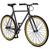 Critical Cycles Harper Single-Speed Fixed Gear Urban Commuter Bike; 57cm, Graphite & Orange