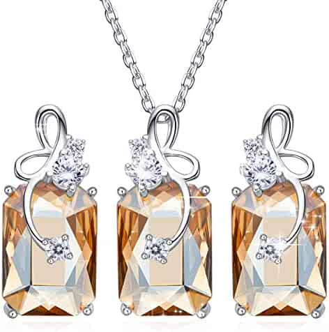 667485fad CDE Jewelry Set 925 Sterling Silver Swarovski Crystals Sapphire Fine Necklace  Earrings Sets Gifts for Womens