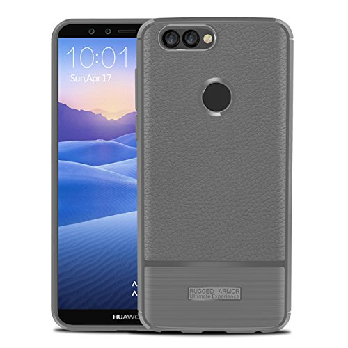 Scheam Huawei Y9 2018 Case, Drop Protection Back Shell Anti-Scratch Shockproof Rubber Bumper Protective Defender Case Cover Huawei Y9 2018 Grey - Glasses 719