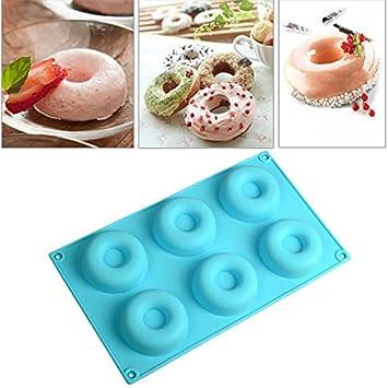 Rosa Lagarto 6 cavidades silicona Donut para galletas moldes para tarta molde de budín de chocolate: Amazon.es: Hogar