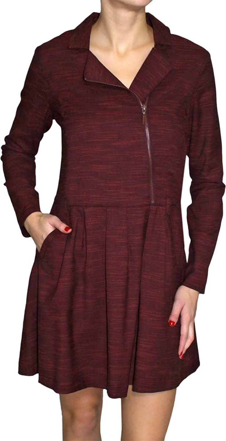 Skunkfunk Women's A-Line Plain Long Sleeve Dress Red Red 14