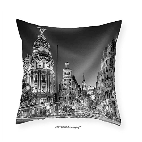 VROSELV Custom Cotton Linen Pillowcase Rays of Traffic Lights on Gran Via Street Main Shopping Street in Madrid at Night Spain Europe - Fabric Home Decor 14''x14 by VROSELV