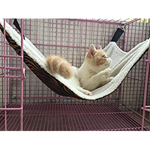 UsefulThingy Cat Hammock. Also for Ferret, Rat, Chinchilla, Rabbit, Small Dogs or Other Pet. Easy to Attach to a Cage. 3 Designs: Tiger 49