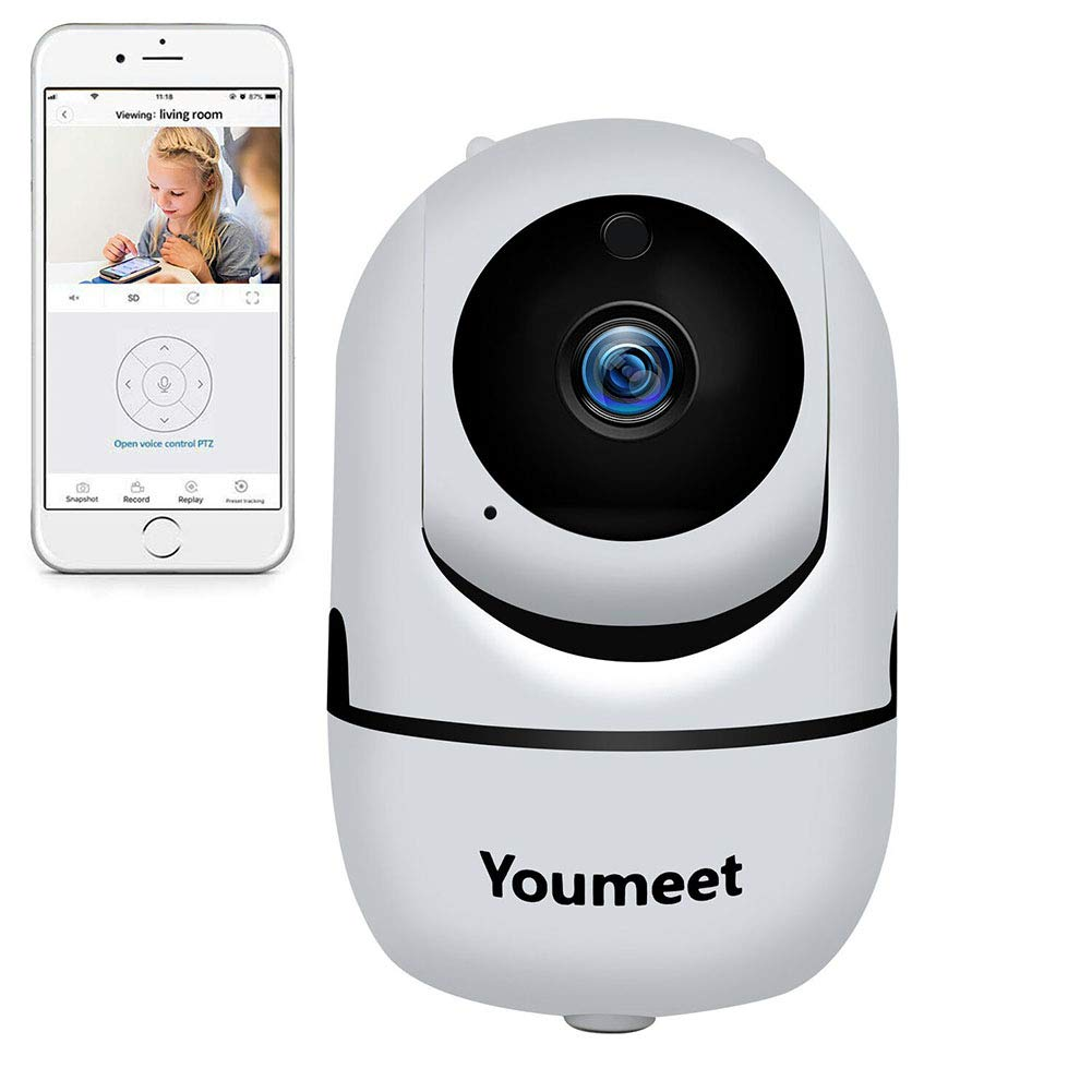 WiFi IP Camera for Home Security - Youmeet 1080P Indoor Pet Camera Baby Monitor, Wireless Surveillance WiFi IP Camera with Night Vision,2-Way Audio, Motion Detection,Pan/Tilt/Zoom for Baby/Elder/Pet