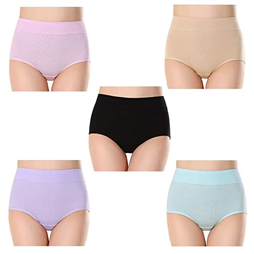 ba291c132b smart sisi 5 pcs Womens Plus-Size High Waist Cotton Briefs Underwear ...