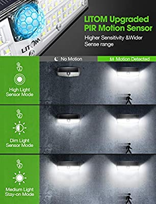 LITOM 66 LED Solar Lights Outdoor, 3 Optional Modes Wireless Motion Sensor Light with 270° Wide Angle, IP66 Waterproof, Easy-to-install Security Lights for Front Door, Yard, Garage, Deck, Porch-2 Pack