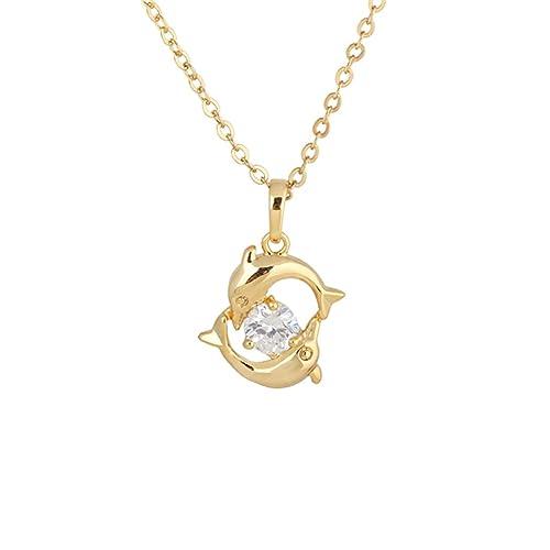 YAZILIND Collar Colgante del día de Tarjeta Regalo de 18 Quilates Chapado en Oro del Metal del Amor del delfín de la joyería Cubic Zirconia