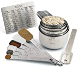 Stainless Steel Measuring Cup and Spoons Set with Level and Conversion Chart- Elegant, Ergonomically Designed, 14-Piece Baking Kit with Measure Cups, Tablespoons, and Teaspoons by Incana - Metal.