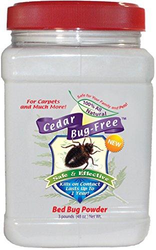 Bed Bug Powder - Cedar Bug-Free Bed Bug Powder. Kills Bed Bugs in Carpet - 3 pounds by Cedar Bug-Free