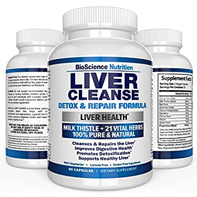 Liver Cleanse Supplement - 22 HERBS Support & Detox: Milk Thistle Extracts Silymarin, Beet, Artichoke, Dandelion, Chicory Root - BioScience Nutrition USA