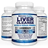 Liver Cleanse Support & Detox Supplement - 22 HERBS : Milk Thistle Extracts Silymarin, Beet, Artichoke, Dandelion, Chicory Root, Weight Loss Aid Herbal Health Supplements - BioScience Nutrition USA
