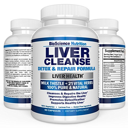 Liver Cleanse Supplement – 22 HERBS Support & Detox: Milk Thistle Extracts Silymarin, Beet, Artichoke, Dandelion, Chicory Root – BioScience Nutrition USA