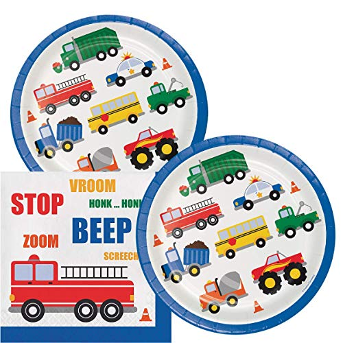 Car Themed Birthday Party (Traffic Jam Birthday Lunch Napkins & Plates Party Kit for 16)