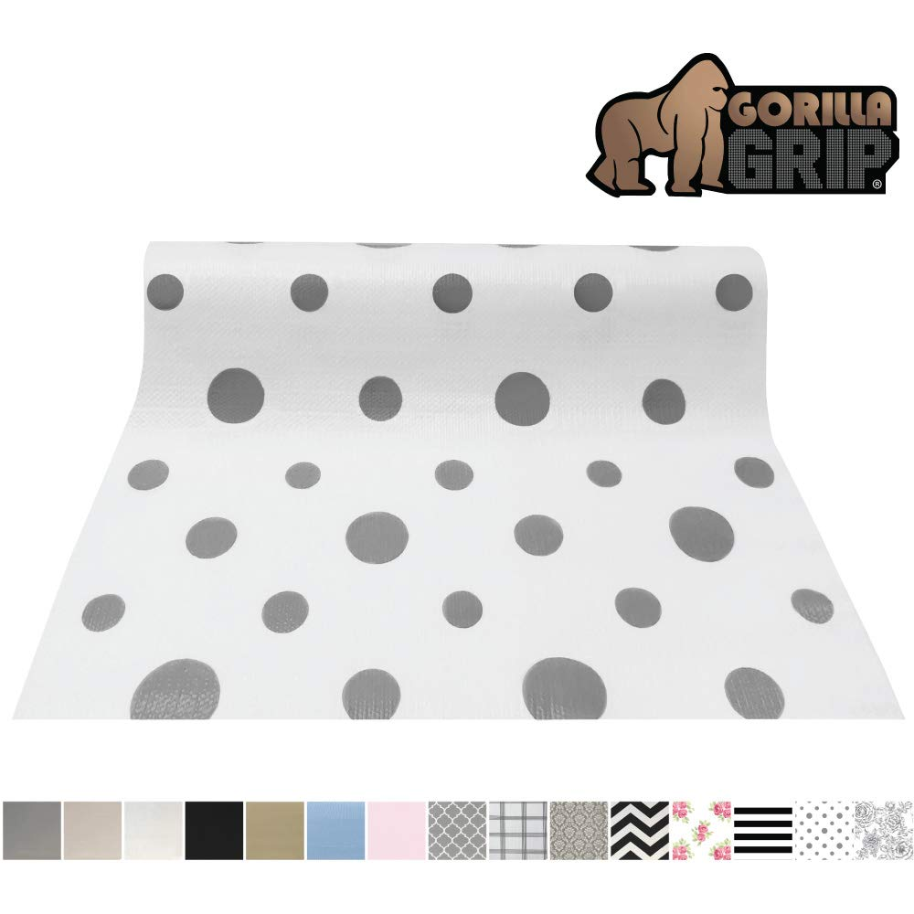Gorilla Grip Original Smooth Top Slip-Resistant Drawer and Shelf Liner, Non Adhesive Roll, 17.5 Inch x 20 FT, Durable Kitchen Cabinet Shelves, Strong Liners for Kitchens Drawers and Desks, Dots Gray