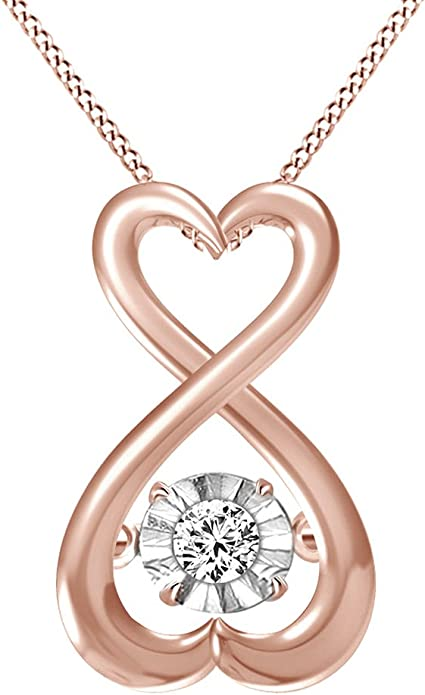 AT Jewels 14K Rose Gold Over 925 Sterling Silver Round Cut Pink Sapphire and Cubic Zirconia Infinity Heart Pendant