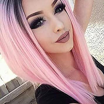 YOPO Short Ombre Pink Wigs Straight Middle Parted No Bangs Hair Wigs Dark  Roots Heat Resistant a2f904b92b0f