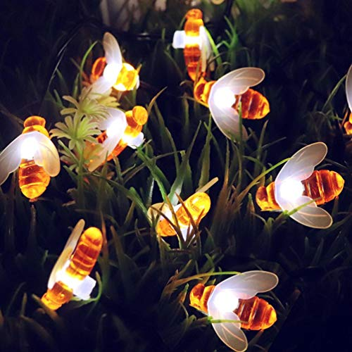 Solar String Environment-Friendly Honey Bee Shape Waterproof Decoration Lamp Garden Party Decoration Light (A) by H+K+L