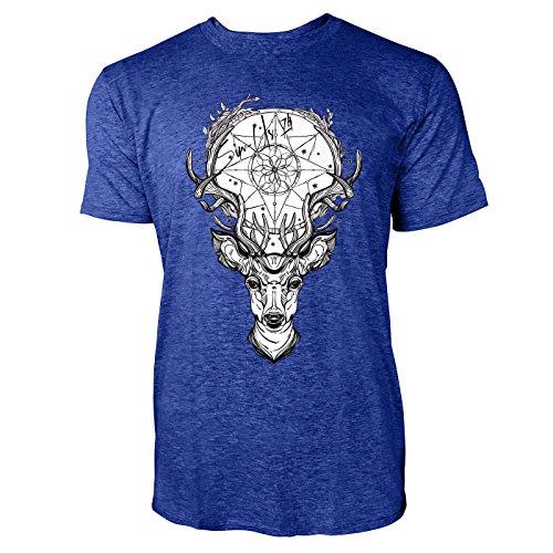 SINUS ART ® Hirschkopf mit Traumfänger Herren T-Shirts in Vintage Blau Cooles Fun Shirt mit tollen Aufdruck