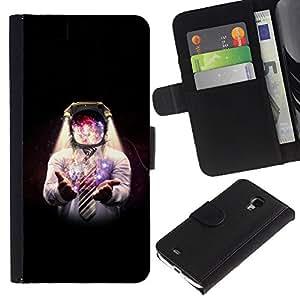 Stuss Case / Funda Carcasa PU de Cuero - Espacio Galaxy Hombre - Samsung Galaxy S4 Mini i9190