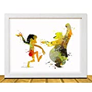 Nursery Decor- Jungle Book - Baby Room Decor Ideas - Mowgli and Baloo Watercolor Disney Inspired Art Movie Art Poster Baby Boy Nursery Art Unframed Printed on Archival Matte Premium Photo Paper