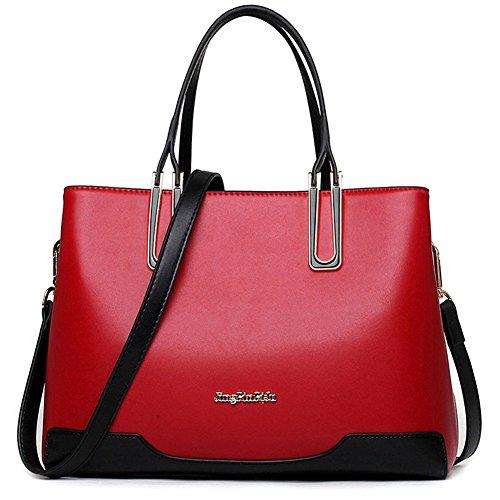 Women Leather Bag Fashion Top Handle Satchel Handbags Shoulder Bag Top Purse Messenger Tote Bag for Girls Red by ANGELIA COMEAUX