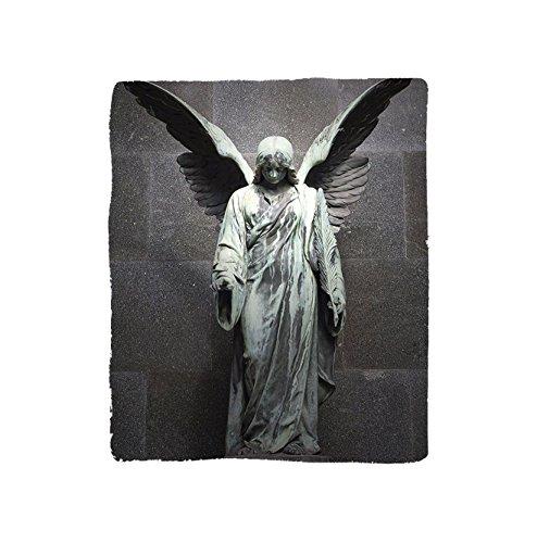 VROSELV Custom Blanket Sculptures Collection Sculpture of an Angel with Dark Background Catholic Belief Century Old Artwork Pattern Bedroom Living Room Dorm Dimgrey by VROSELV