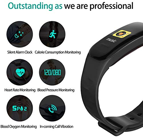 nicegh Fitness Tracker, Color Screen Activity Tracker with Blood Pressure Blood Oxygen, IP67 Waterproof Smart Watch with Heart Rate Sleep Monitor Calorie Counter Pedometer for Men Women and Kids