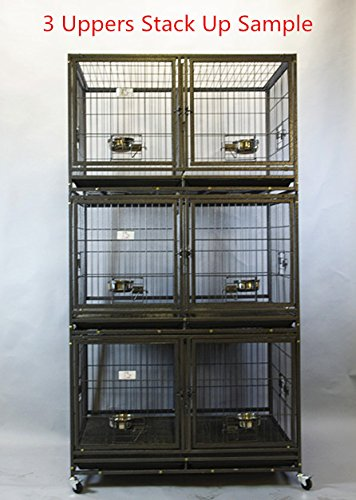 Homey Pet-43 All Metal Open Top Stackable Heavy Duty Cage(Upper) w/Floor Grid, Tray, Divider, and Feeding Bowl by Homey Pet (Image #5)